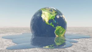 Grafisk illustration af smeltende jordklode